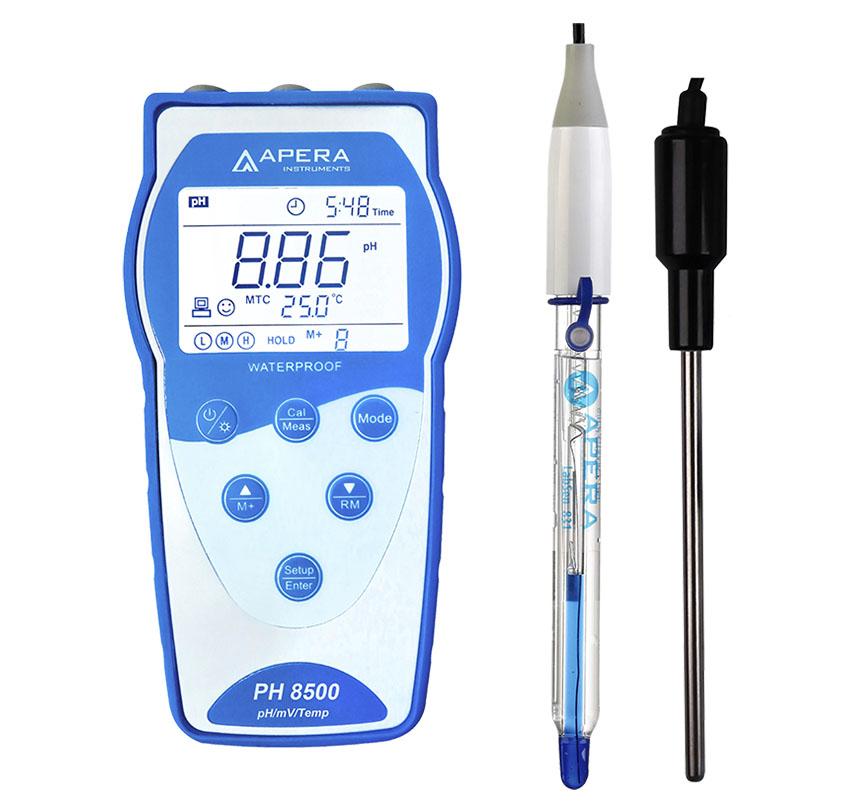 guclu asit veya hidroflorik asit iceren solusyonlar icin portatif ph olcum cihazi apera ph8500 hf